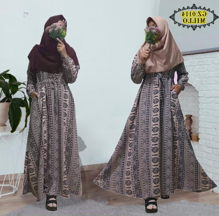 Inspirasi Baju Lebaran 2020 S1du Baju Gamis Lebaran Batik 2020 Gz0114 Gamisalya