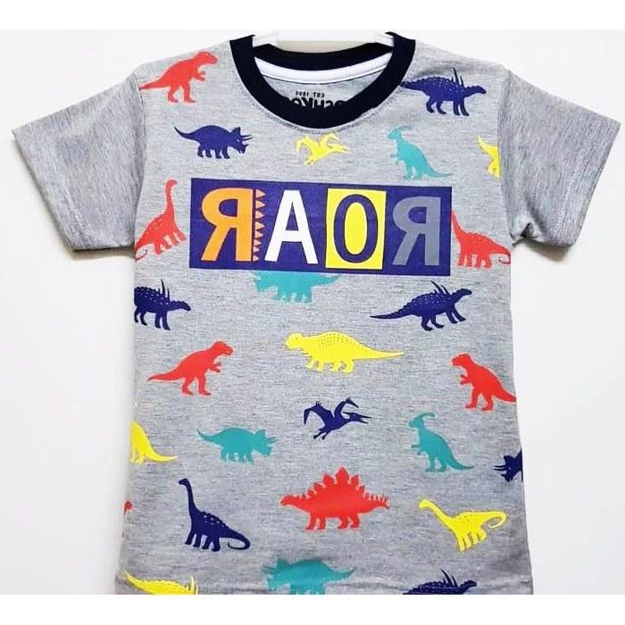 Inspirasi Baju Lebaran Anak Laki Laki Umur 1 Tahun Q5df Baju Kaos Anak Laki Laki Umur 1 10 Tahun Motif Dino Abu