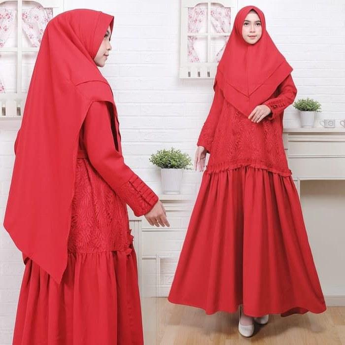 Inspirasi Baju Lebaran Kekinian 2019 E6d5 Baju Gamis Syari Lebaran Kekinian 2019 Rafania Merah