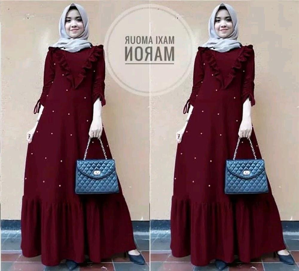 Inspirasi Baju Lebaran Kekinian Zwdg Jual Baju Muslim Maroon Kekinian Dress Pesta Muslim