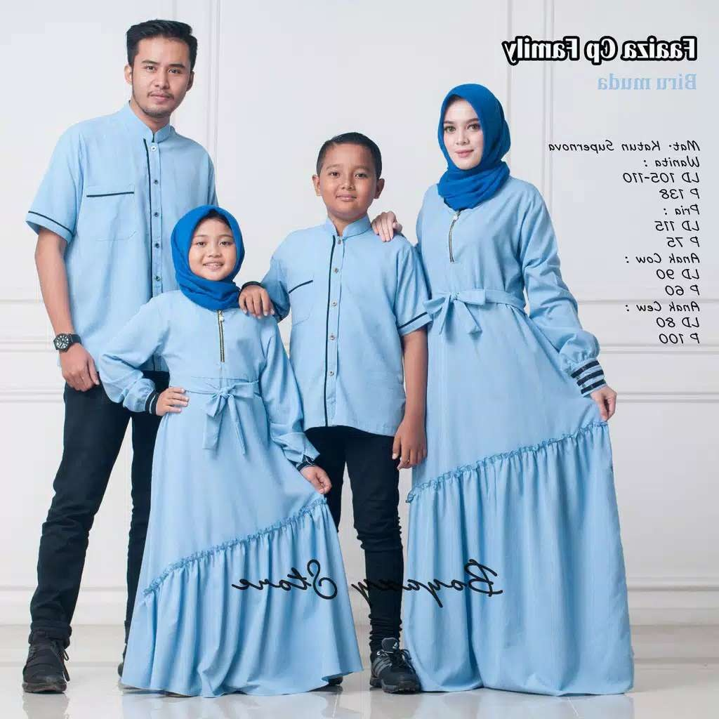 Inspirasi Baju Lebaran Keluarga Warna Biru Ftd8 Couple Keluarga Faaiza ori by Boyazy Katalog Bajugamismu
