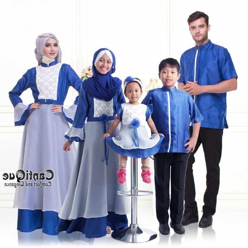 Inspirasi Baju Lebaran Keluarga Warna Biru T8dj Baju Muslim Keluarga – Sarimbit Keluarga Muslim – Cq 1606
