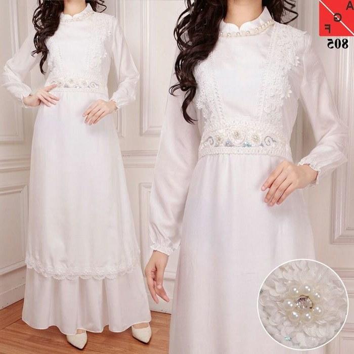 Inspirasi Baju Lebaran Warna Putih 8ydm Trend Gamis Lebaran 2018 Sutra Silk Putih Af805 Model