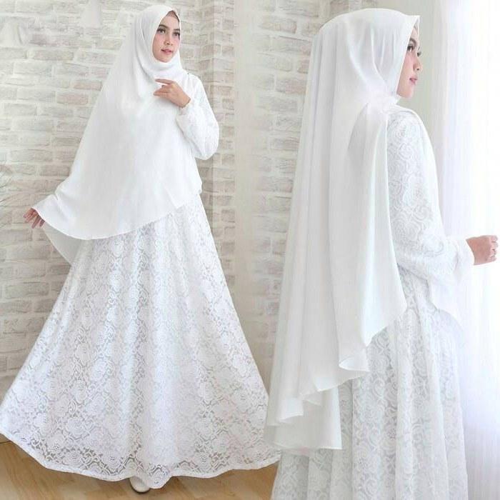 Inspirasi Baju Lebaran Warna Putih Budm Gamis Lebaran Umroh Modern Haji Bri Te Syari Jual