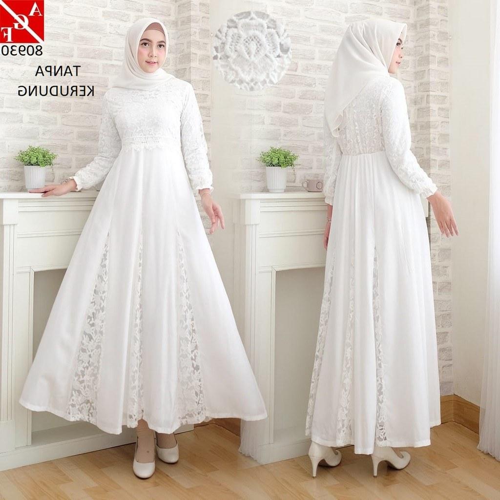 Inspirasi Baju Lebaran Warna Putih D0dg Baju Gamis Wanita Brukat Syari Putih Lebaran Baju