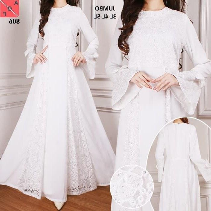 Inspirasi Baju Lebaran Warna Putih Mndw Gamis Lebaran Modern Warna Putih 2019 Af806 Gamissyari
