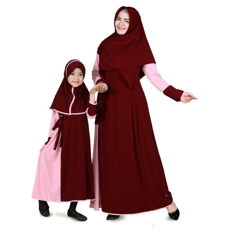 Model Baju Lebaran Ibu Dan Anak Perempuan 9fdy Jual Baju Muslim Anak Perempuan Jersey Marun Peach Bajuyuli