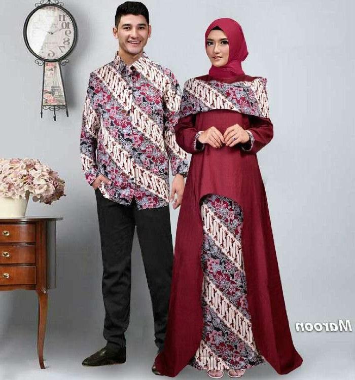 Model Baju Lebaran Pasangan Qwdq Model Baju Gamis Pasangan Batik Lebaran Sabna Marun Mg
