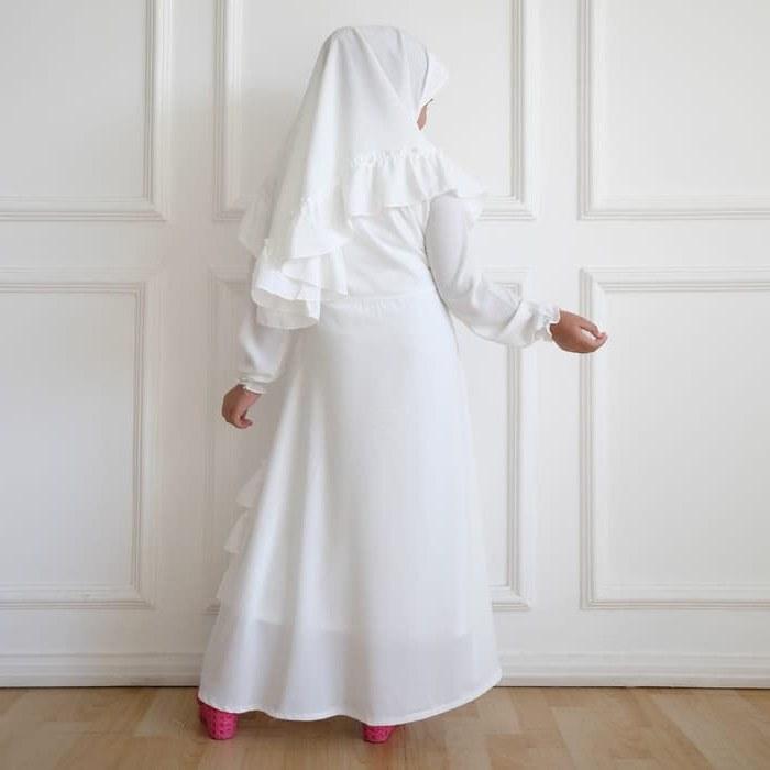Model Baju Lebaran Putih 3ldq Gamis Putih Anak Perempuan Baju Muslim Syari Anak Lebaran