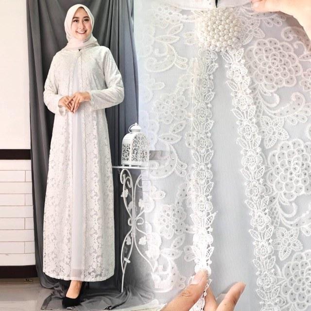 Model Baju Lebaran Putih D0dg Sale Full Brukat Tebal Baju Gamis Putih Lebaran Umroh