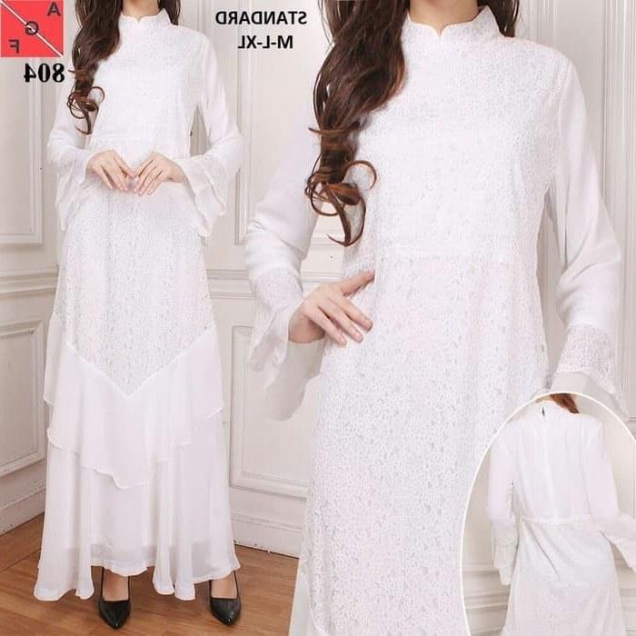 Model Baju Lebaran Putih Ipdd Gamis Modern Terbaru 2019 Warna Putih Af804 Gamissyari