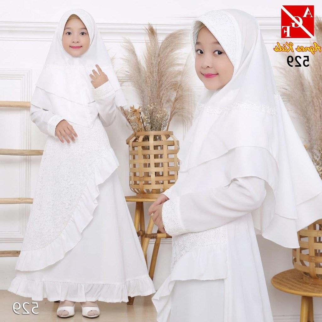 Model Baju Lebaran Putih Irdz Agnes Gamis Putih Anak Perempuan Baju Busana Muslim Brukat