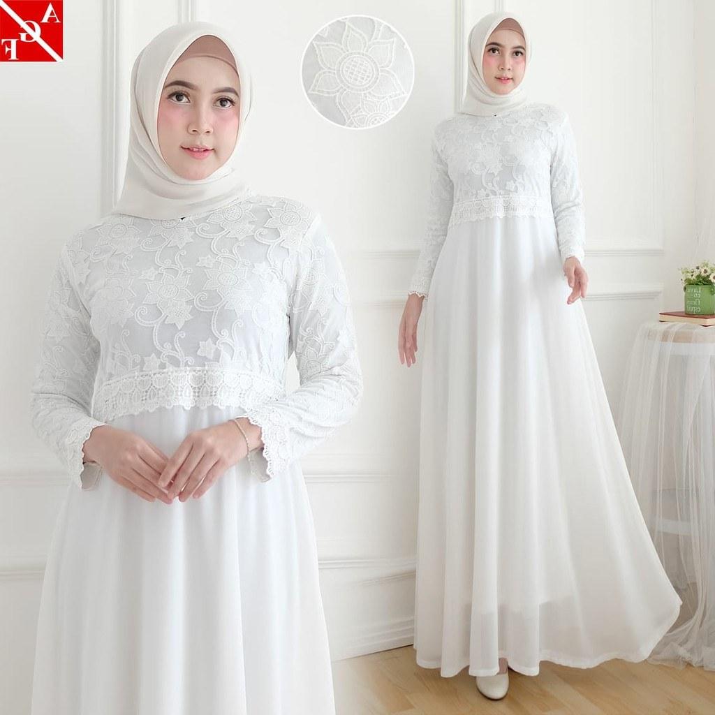 Model Baju Lebaran Putih Txdf Sale Baju Gamis Wanita Brukat Gamis Putih Lebaran