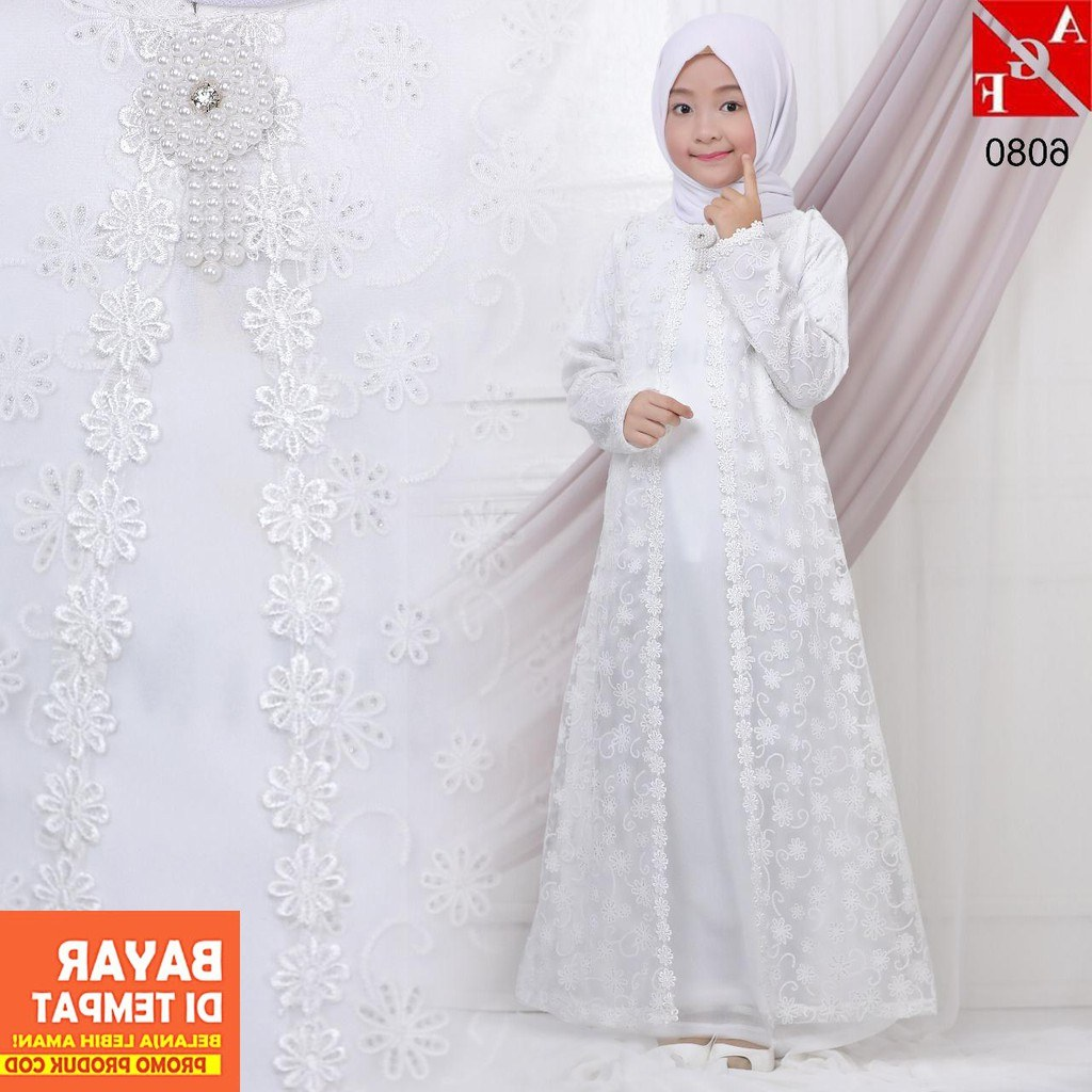 Model Baju Lebaran Putih Xtd6 Agnes Baju Muslim Anak Gamis Putih Anak Gamis Putih
