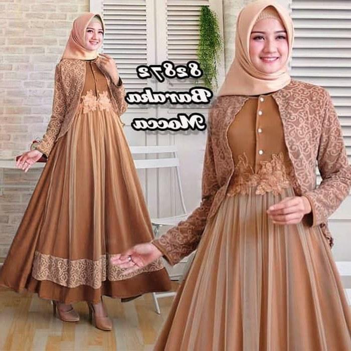 Model Baju Lebaran Syari 2019 Qwdq Gamis Brokat Terbaru 2019 Kombi Spandex Baraka Gamisalya