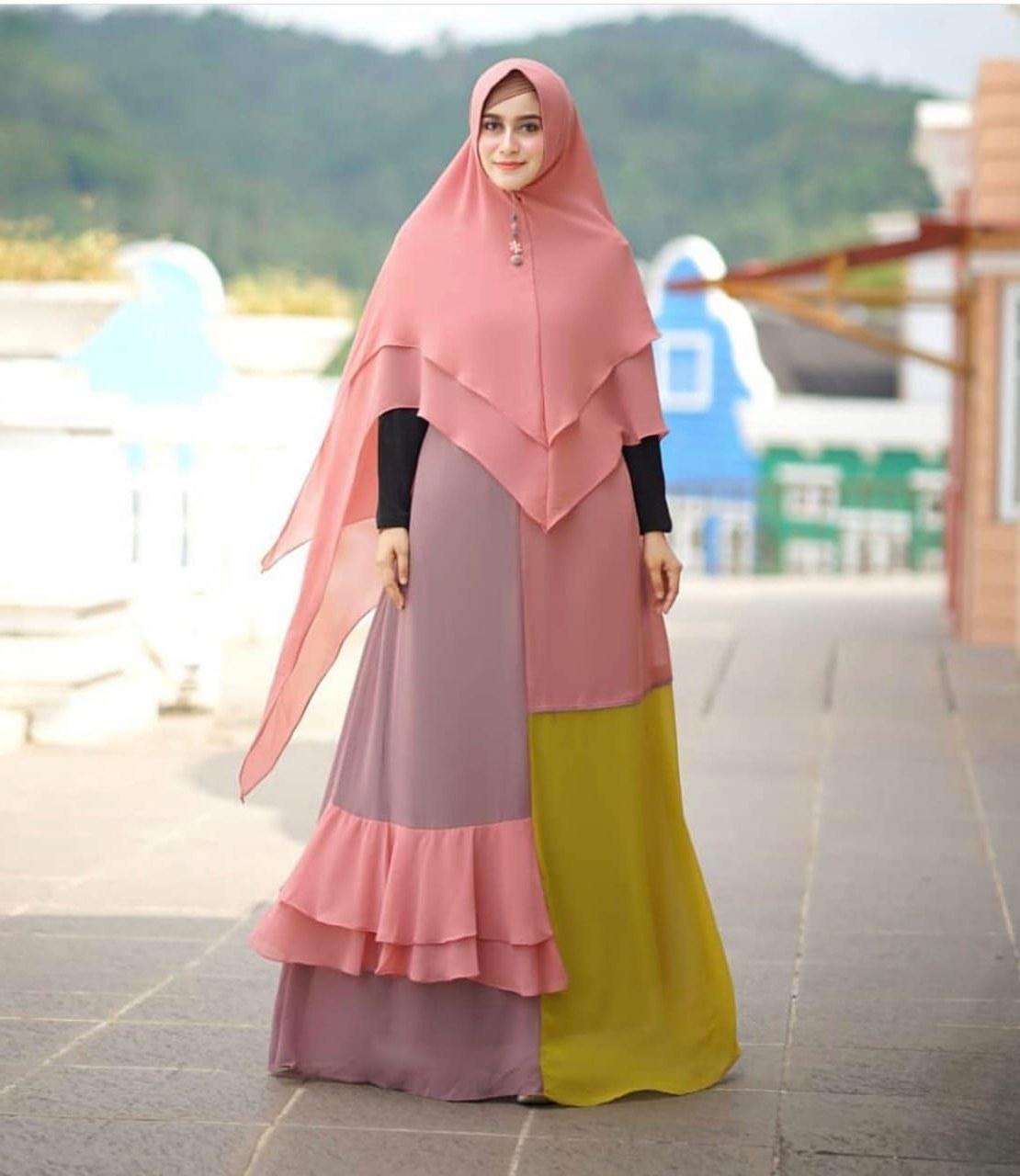 Model Baju Lebaran Syari 2019 Wddj Trend Gamis Syar I Polos 2019 Nania Katalog Bajugamismu