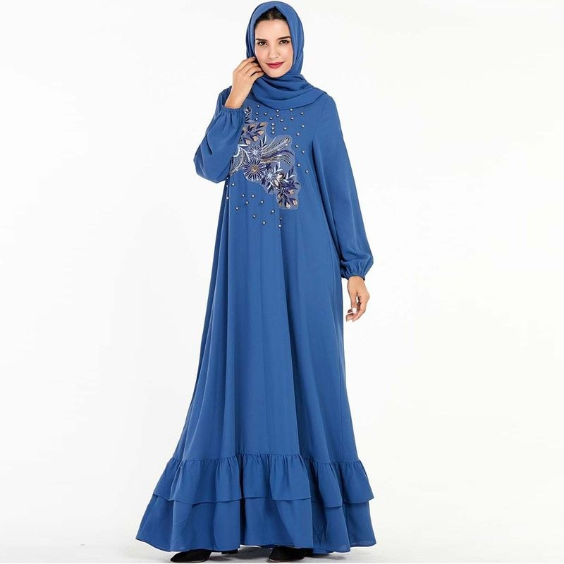 Model Fashion Muslim 2020 S5d8 Blue Abaya Dubai Turkish Hijab Muslim Dress for Women