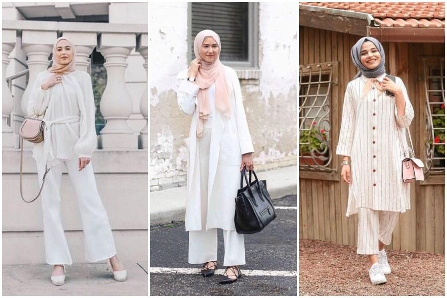 Model Model Baju Lebaran Thn 2020 Drdp 9 Ootd Hijab Dengan Baju Putih Yang Stylish Dan Cocok