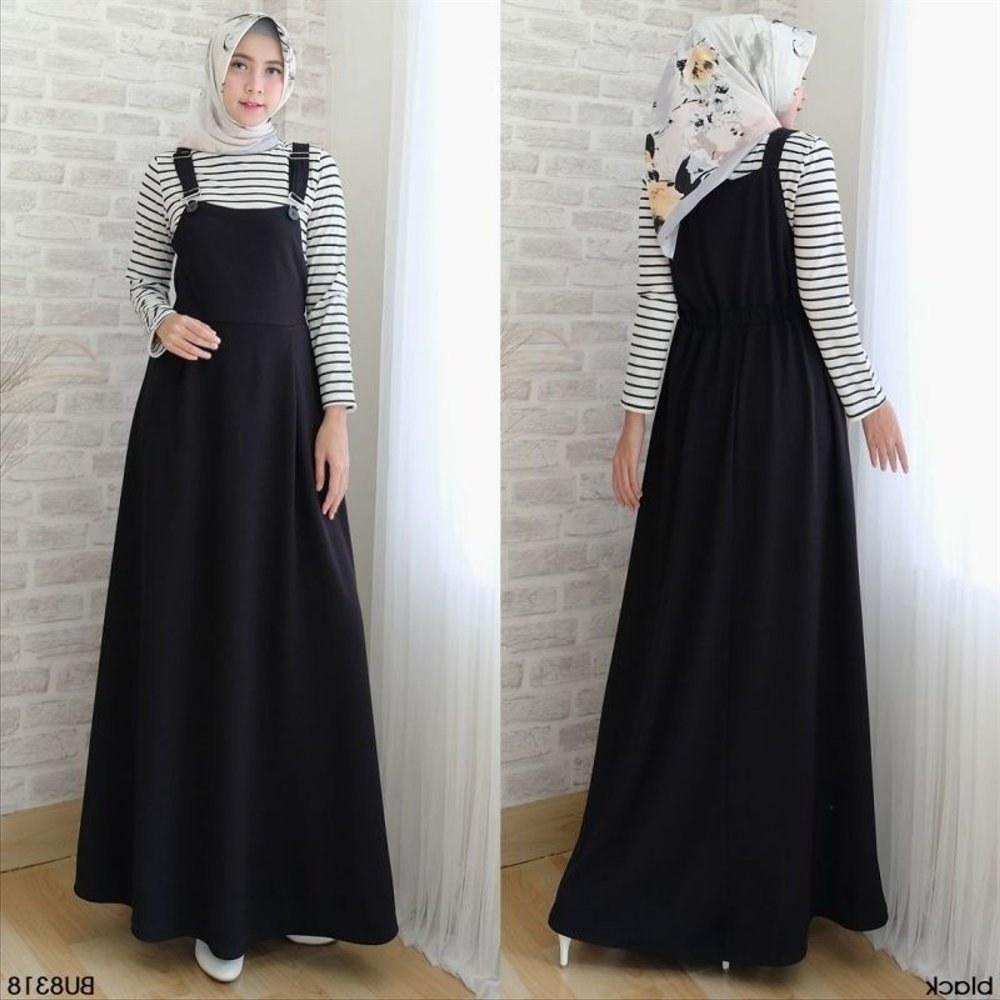Model Setelan Baju Lebaran 2018 4pde Jual Baju Gamis Wanita Setelan Overall Black Sany Dress