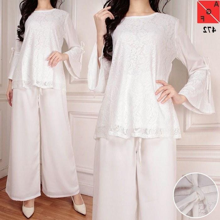 Model Setelan Baju Lebaran 2018 Ffdn Baju Lebaran Terbaru 2018 Kulot Set Putih Af472 Model
