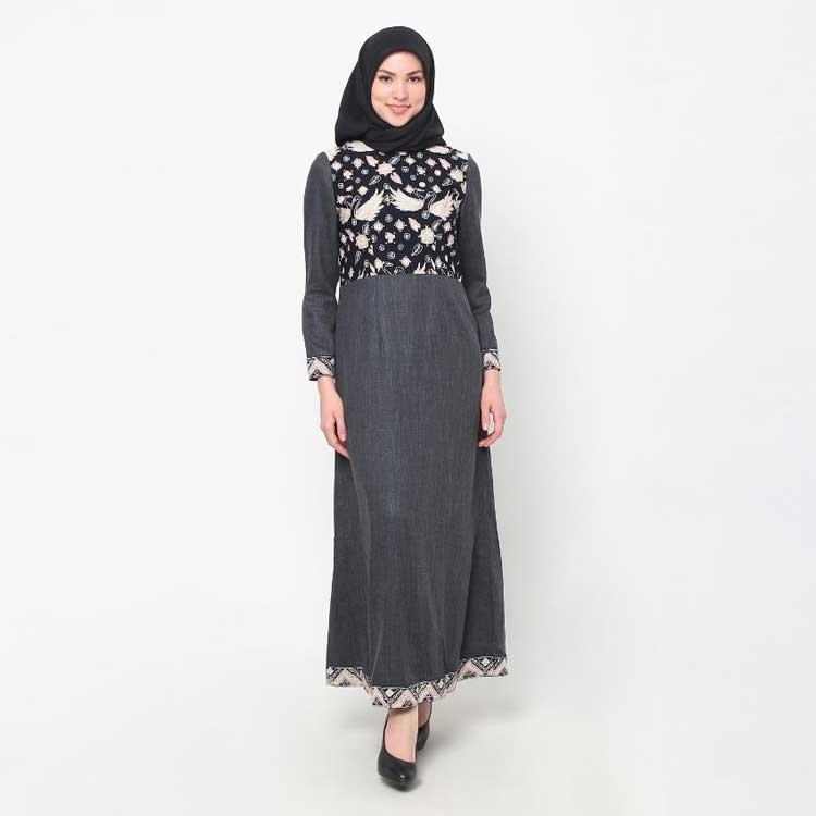 Baju Gamis Batik Kombinasi Polos Remaja Ragam Muslim