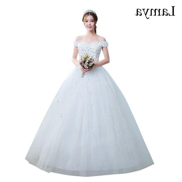 Bentuk Gaun Pengantin Muslim Gold Nkde wholesale Vestido De Noiva 2019 Princess Cheap Appliques Elegant Wedding Dresses Fashion Lace Up Bridal Gowns Real In Stock Bride Dresses