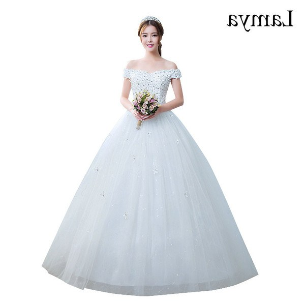 Bentuk Gaun Pengantin Muslim Terbaru Ffdn wholesale Vestido De Noiva 2019 Princess Cheap Appliques Elegant Wedding Dresses Fashion Lace Up Bridal Gowns Real In Stock Bride Dresses