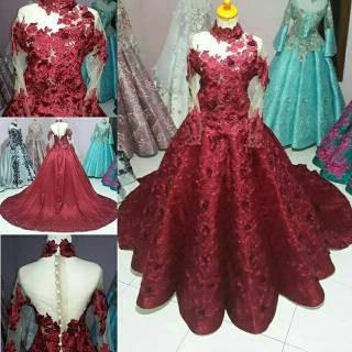 Bentuk Gaun Pengantin Muslimah Warna Merah Marun Tldn Gaun Pengantin Modern Barbie Warna Pink Baby Dan Putih