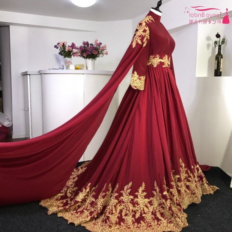Bentuk Gaun Pengantin Muslimah Warna Merah Marun Whdr Us $219 0 Lengan Panjang Muslim Pernikahan Gaun Merah Marun Merah Renda Emas Kereta Pengadilan Bahasa Swedia Pernikahan Gaun Pengantin Gaun