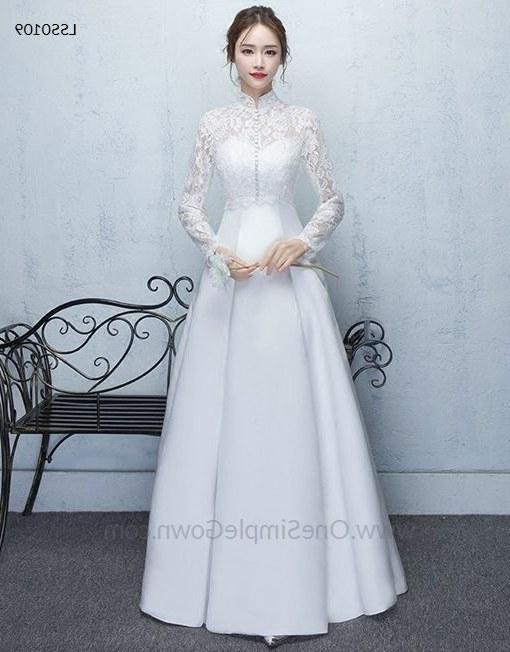 Bentuk Gaun Pernikahan Muslimah Elegan 8ydm Classic Long Sleeve Lace Elegant Satin Wedding Dress