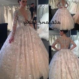 Bentuk Model Baju Pengantin India Muslim Fmdf Sparkly Lace Sequins Ball Gown Wedding Dresses with Long Sleeve 2019 Y Dubai Arabic Princess Puffy Skirt Church Wedding Gown
