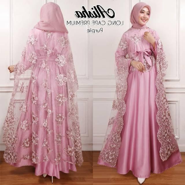 Contoh Gaun Pengantin Muslimah Warna Pink Fmdf Kaftan Longcape Alisha