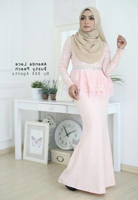 Contoh Gaun Pengantin Muslimah Warna Pink J7do Peplum Lace