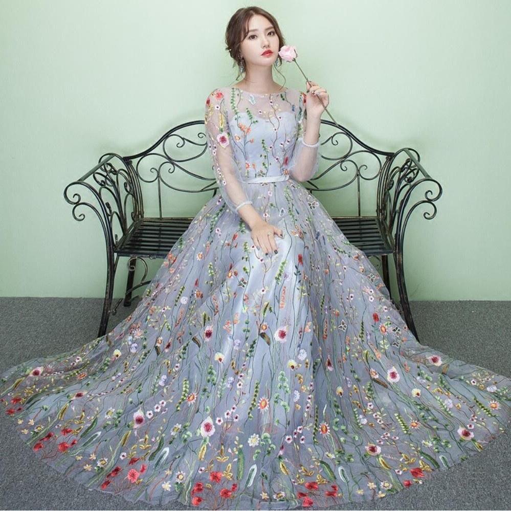 Contoh Gaun Pengantin Muslimah Warna Pink Thdr Elegant Women Fashion Maxi Floral 3 4 Sleeve Wedding Gown evening Dress 更新颜色分ç±