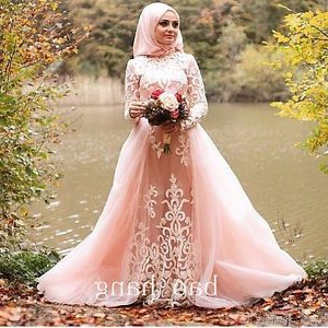 Contoh Gaun Pengantin Muslimah Warna Pink Tqd3 Muslim Long Sleeve Wedding Dress Detachable Train Blush Pink