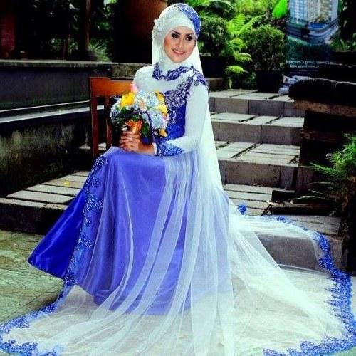 Design Baju Pengantin Muslimah Bercadar Budm Gaun Pengantin Muslimah Biru 6