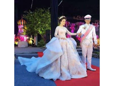 Design Gaun Pasangan Pengantin Muslim S1du Pernikahan Mewah Bertema Princess Pengantin Wanita Gunakan