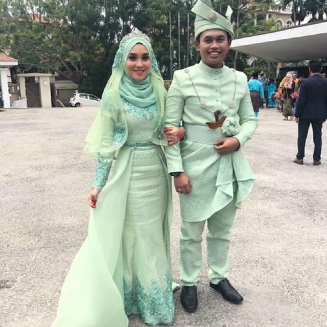 Design Gaun Pasangan Pengantin Muslim Whdr 36 Baju Pengantin songket Mint Green Modis Dan Cantik
