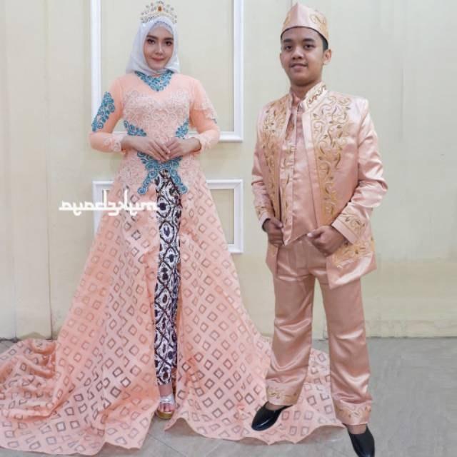 Design Gaun Pengantin Brokat Muslim E9dx Kebaya Couple Ekor Mata Dewa Baju Pengantin Free Rok Selop 2 Pasang