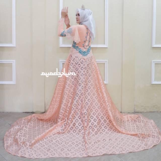 Design Gaun Pengantin Brokat Muslim Thdr Kebaya Couple Ekor Mata Dewa Baju Pengantin Free Rok Selop 2 Pasang