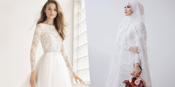 Design Gaun Pengantin Brokat Muslimah Budm 8 Inspirasi Busana Pengantin Berlengan Panjang Manis Buat