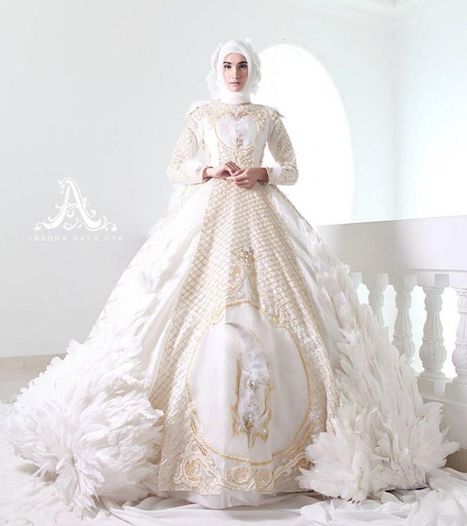 Design Gaun Pengantin Muslimah 2018 Drdp Baju Wedding Muslim Modern Voal Motif