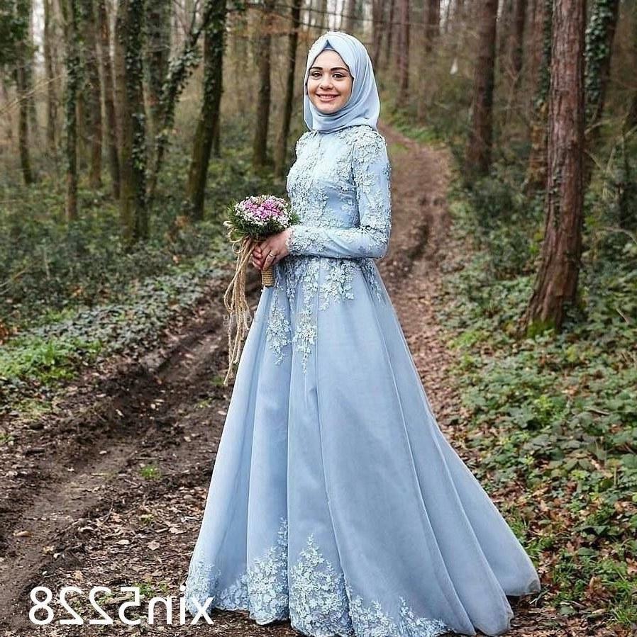 Design Gaun Pengantin Muslimah 2018 U3dh Nice 2018 Arabic Muslim Sky Blue Wedding Dress Long Sleeve