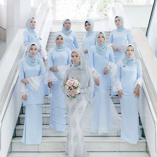 Design Gaun Pengantin Muslimah Biru Gdd0 Bridesmaid Hijab Dress – Fashion Dresses
