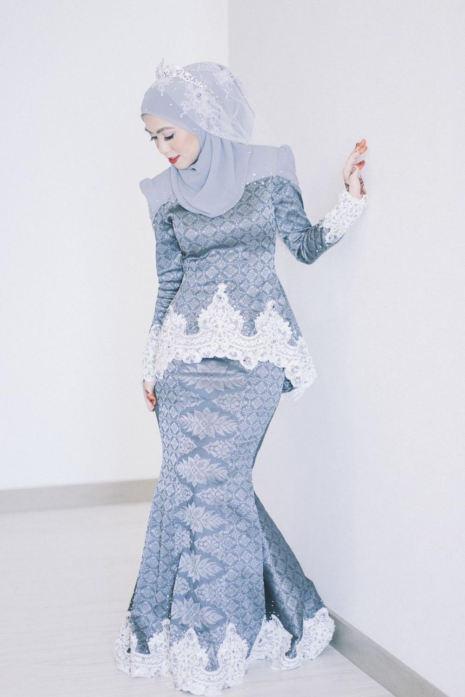 Design Gaun Pengantin Muslimah Biru Nkde songket In 2019