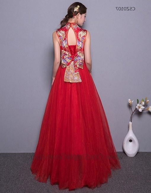 Design Gaun Pengantin Muslimah Gold 9fdy Sleeveless Phoenix Embroidery Floor Length Chinese Wedding Dress