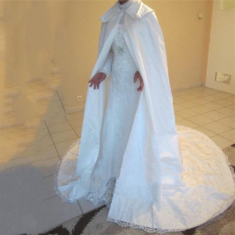 Design Gaun Pengantin Muslimah Gold Gdd0 Us $69 52 Off Muslim Wedding Cape A Line Appliqued Lace Satin for Wedding Long White Hooded Cape Arabic Muslim Bridal Veils In Bridal Veils From