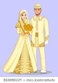 Design Gaun Pengantin Muslimah Gold Rldj Ilustraciones Imágenes Y Vectores De Stock sobre Couple