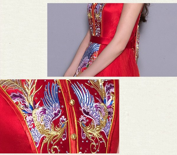 Design Gaun Pengantin Muslimah Gold Wddj Sleeveless Phoenix Embroidery Floor Length Chinese Wedding Dress