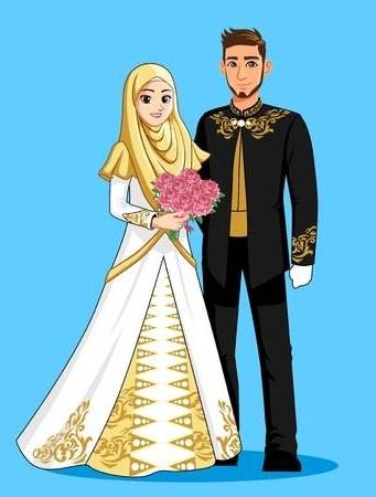 Design Gaun Pengantin Muslimah Gold Y7du 108 823 Muslim Cliparts Stock Vector and Royalty Free